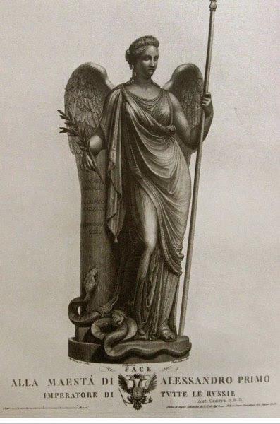Гравюра с эскизом Богини Мира. Антонио Канова.