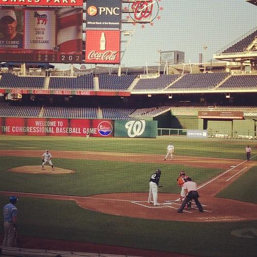 My softball teammate Cedric Richmond at bat in the congressional baseball game