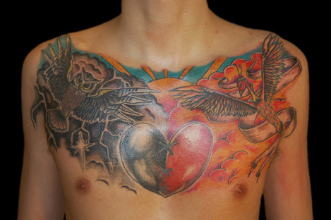 Good And Evil Chest Tattoos