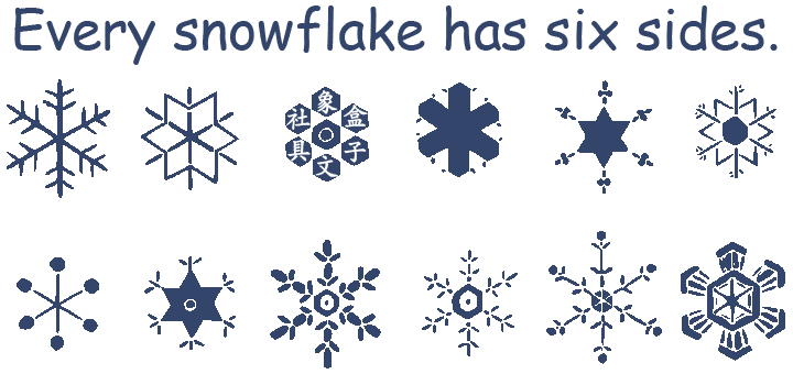 snowflakes 雪花 雪片 every snowflake has six sides