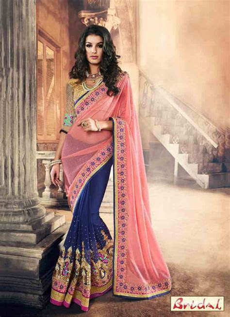 Pink and blue saree designs for wedding in 2018 ? FashionEven