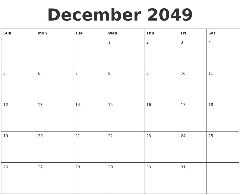 december 2049 blank calendar template