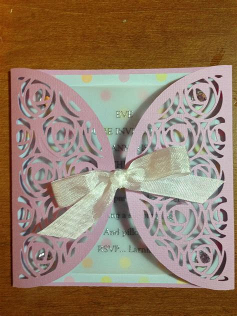 Invitation made with my Brother Scan n Cut with embossed