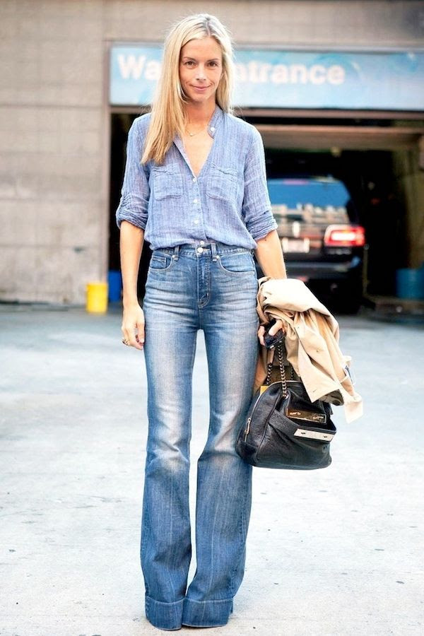Le Fashion Blog Street Style Meredith Melling Denim On Denim Chambray Shirt  High Waisted Wide Leg 7964af28f