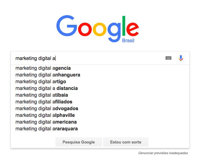 Google Suggest: Concatenar palavra
