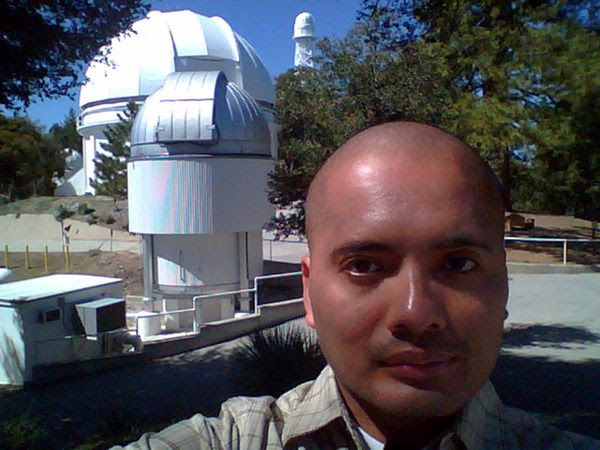 A selfie I took with Mount Wilson Observatory's CHARA array interferometer (foreground), the 60-inch telescope and a 150-foot solar telescope (background) on March 24, 2016.