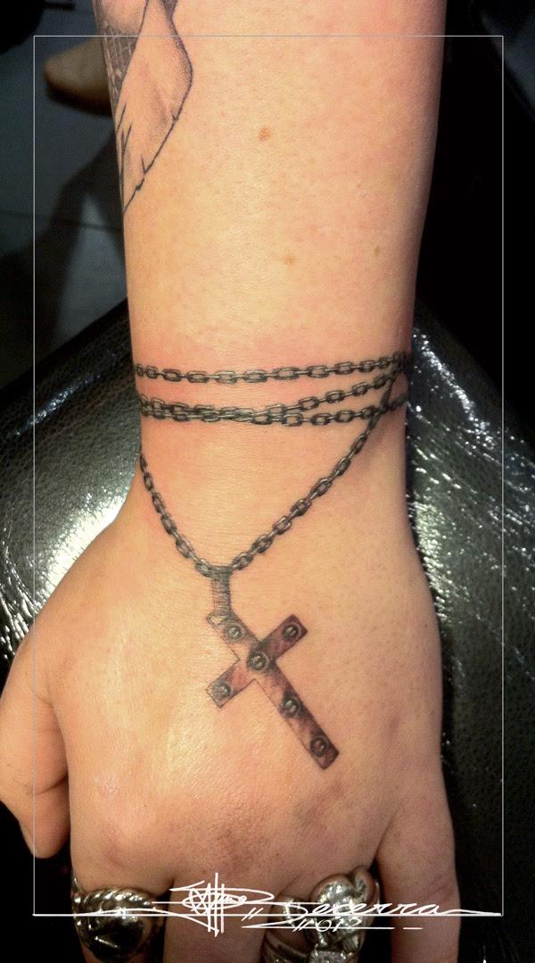 Cross Chain Tattoo On Wrist