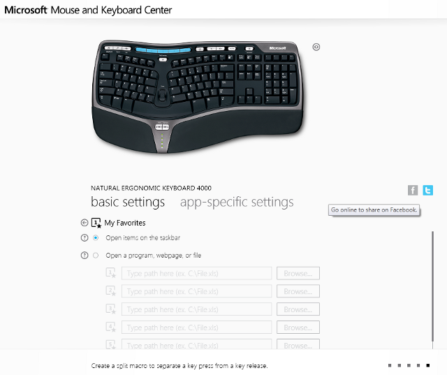 Microsoft keyboard settings, with Facebook and Twitter share buttons.