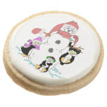 Snowman And Penguins Christmas Round Premium Shortbread Cookie