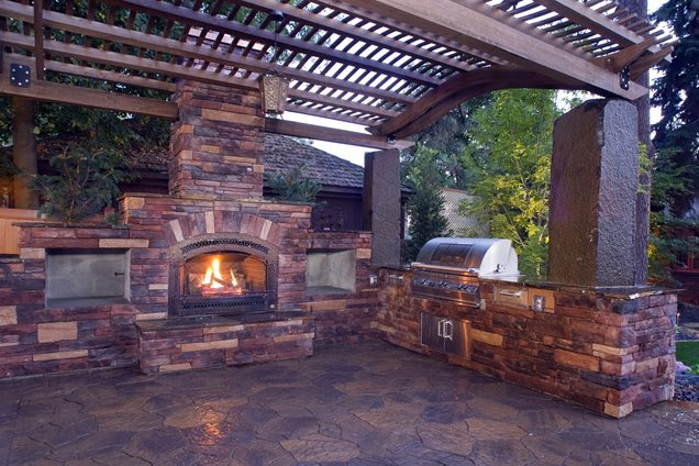 Outdoor Fireplace - Mead, WA - Photo Gallery - Landscaping Network