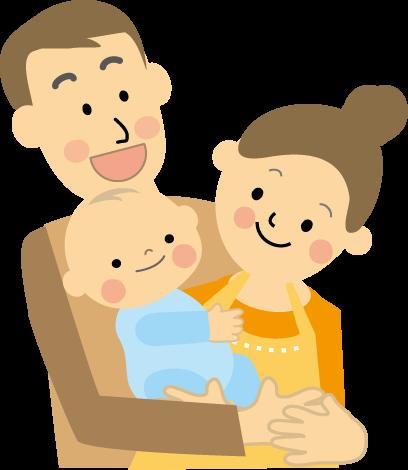 赤ちゃんとパパとママのイラスト無料イラストフリー素材