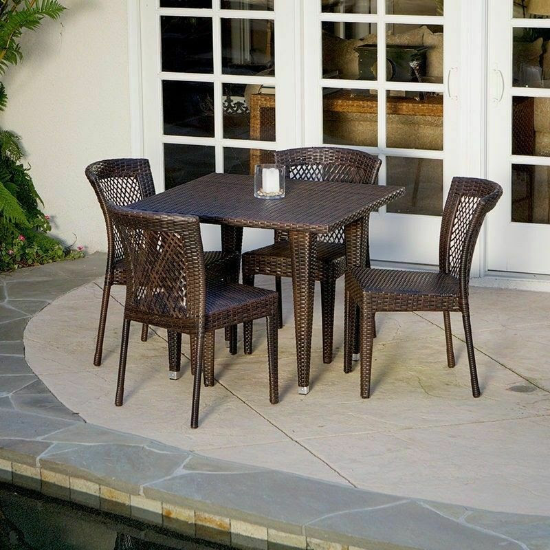 Outdoor Patio Furniture 5pc All-weather Brown Wicker ...