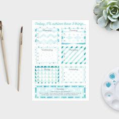 Pack of three printable 6 day to do list - watercolour patterned ...