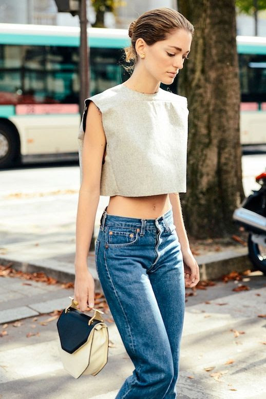 Le Fashion Blog Street Style Easy Summer Look Structured Crop Top Vintage Jeans Metal Handle M2Malletier Via Vogue