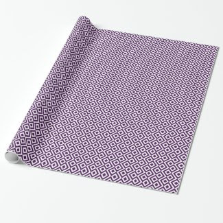 Purple and White Meander Gift Wrapping Paper