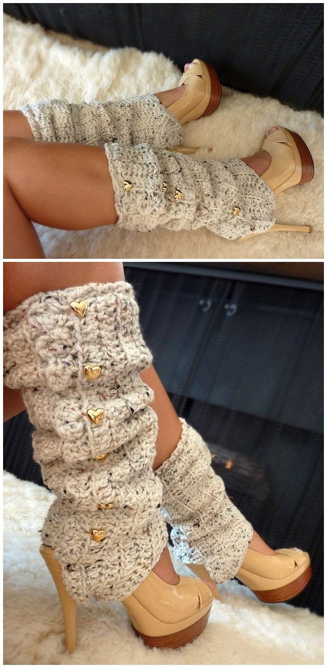 Oatmeal crochet Leg warmers by Mademoiselle Mermaid $4.95