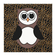 Retro Owl with Bronze Sparkles and Animal Print Gallery Wrap Canvas