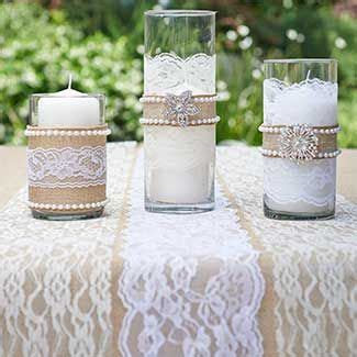 Burlap, pearls, brooches & lace vase accents   #wedding #