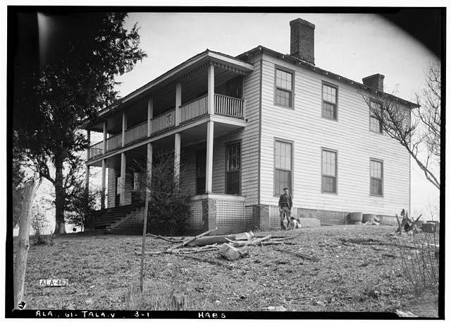 1.  Historic American Buildings Survey Alex Bush, Photographer, February 2, 1937 WEST (FRONT) AND SOUTH ELEVATION - King Plantation, Frank Street, Talladega, Talladega County, AL
