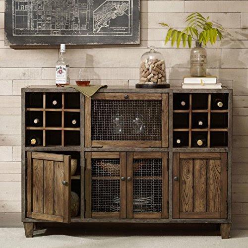 Industrial Rustic Vintage Liquor Storage Wine Rack Cart Metal Frame
