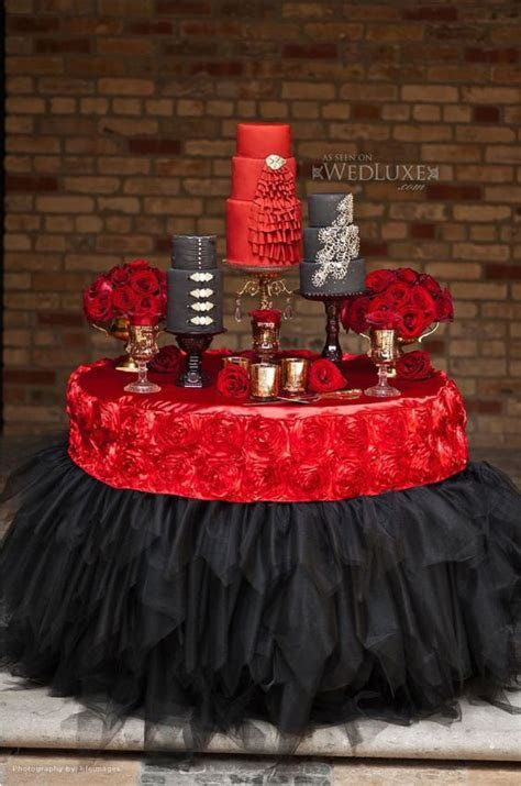 Red black bling wedding cake table dessert food   Tapas