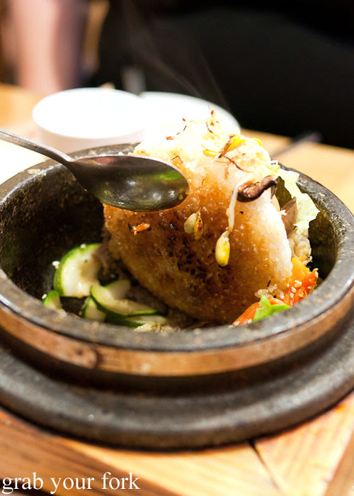 crispy rice bottom bibimbap at naruone one pitt street sydney