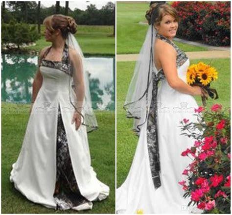 Romantic Plus Size Long White Camouflage Wedding Dresses
