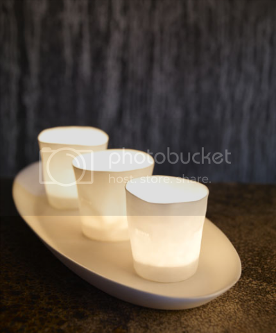 bone china plate & tea lights 1