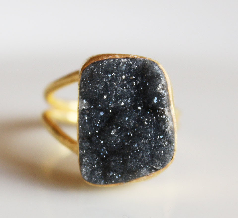 Gold Black Agate Druzy Ring - Adjustable Gemstone Ring - OOAK, Trapezoid Shape