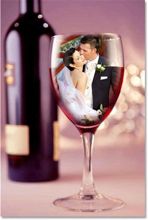 Wedding Couple In A Wine Glass Photo Effect