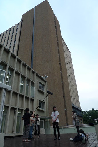 Filming on the roof of Waseda building number 10