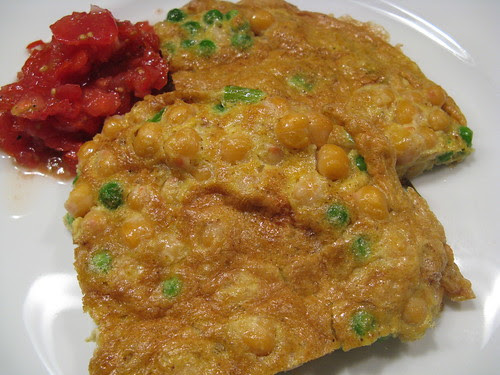 Curried Pea Frittata with Tomato Chutney