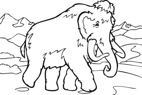 Dibujo De Mamut Andando Para Colorear Dibujos Para Colorear