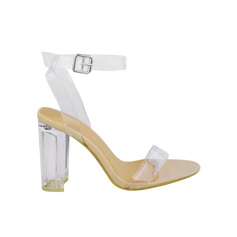black patent clear perspex block high heel clear straps