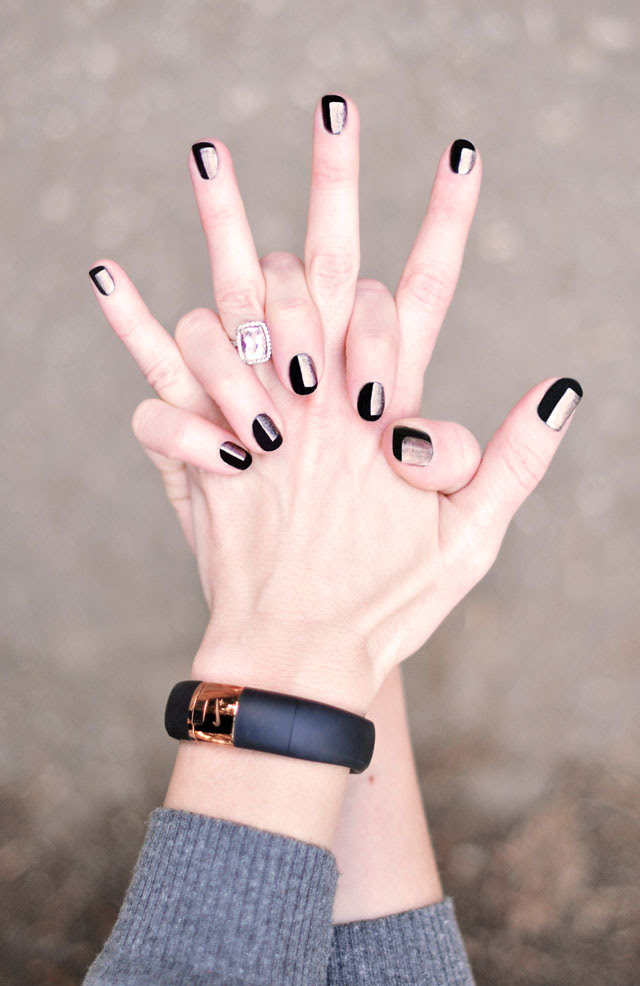 black and rose gold nails-manicure-nike fuelband