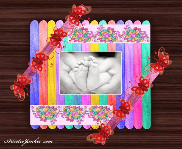 Recycled Craft Popsicle Stick Picture Frame Artisticjunkie