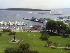 Mackianc Island - Downtown and Marina from Fort
