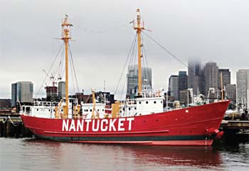The United States Lightship Nantucket (LV-112) docked in East Boston's Boston Shipyard and Marina. The ship spent the weekend in New York City and played host to Super Bowl parties.