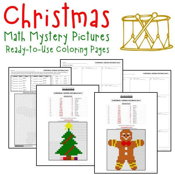 Christmas Decimals Coloring Worksheets - Printables ...