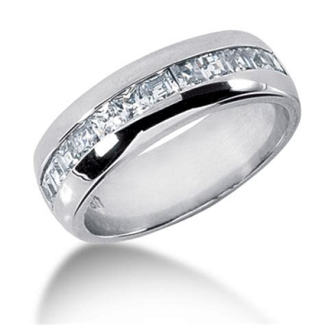 1.20 Carat Mens Princess Cut 7 MM Diamond Wedding Band in