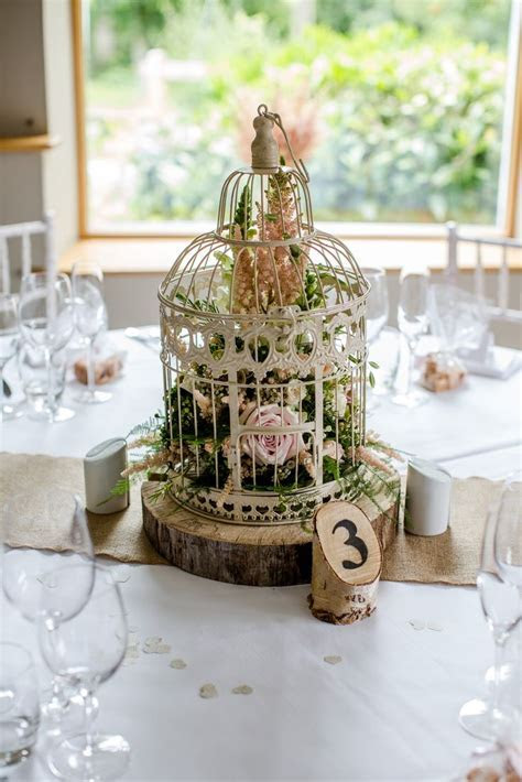 Vintage bird cage with flowers, log slice, wooden table