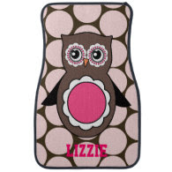 Personalized Owl Car Floor Mats with Name