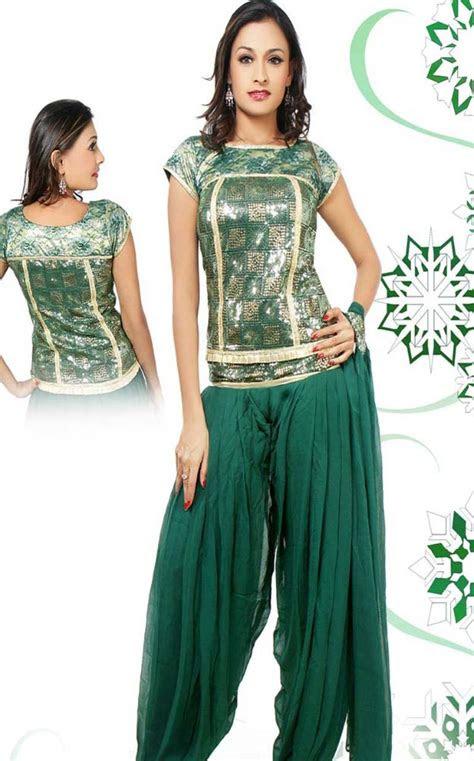 patiala salwar kameez deep green faux georgette patiala