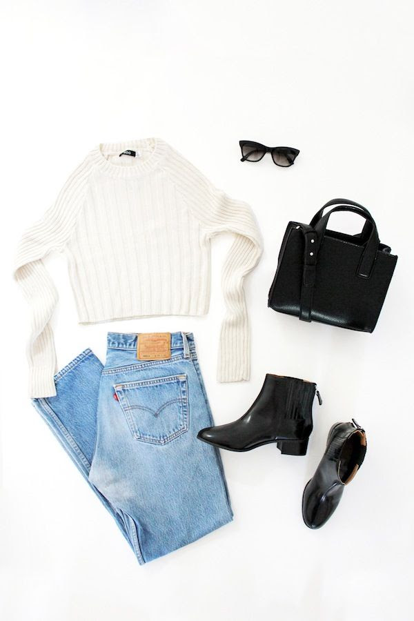 Le Fashion Easy Outfits Looks Transition Summer To Fall Style Urban Outfitters White Cropped Sweater Cat Eye Sunglasses Mini Tote Bag Levis Jeans Ankle Boots