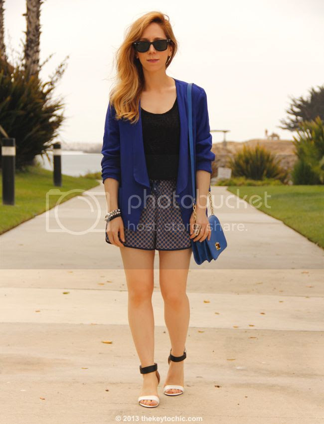 Los Angeles fashion blogger wearing Mossimo lace tank top, blue Wallis blazer, Forever 21 foulard print shorts, Merona bag, and Prabal Gurung for Target wedges