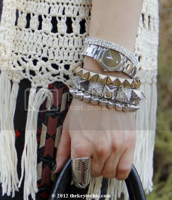 crochet fringe vest, studded bracelets, layered jewelry, BDG embroidered jeans, Sam Edelman Louie boots, Los Angeles fashion blog