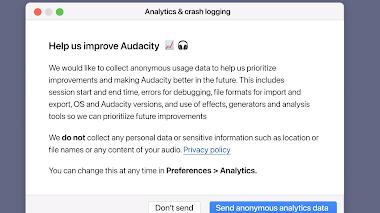 Audacity introduce la telemetria (ma a fin di bene)