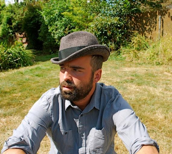Mens Grey Wool felt hat- Fedora/ Trilby size Large- Hand Blocked