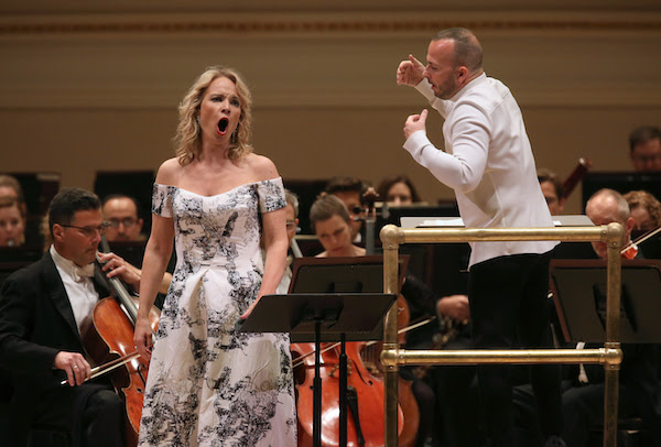 "Elina Garanca performed Mahler's ""Ruckert-Lieder"" with Yannick Nézet-Séguin and the Met Orchestra Friday night at Carnegie Hall. Photo: Steve J. Sherman"