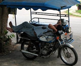 Sleeping tuk tuk driver, Ao Manao